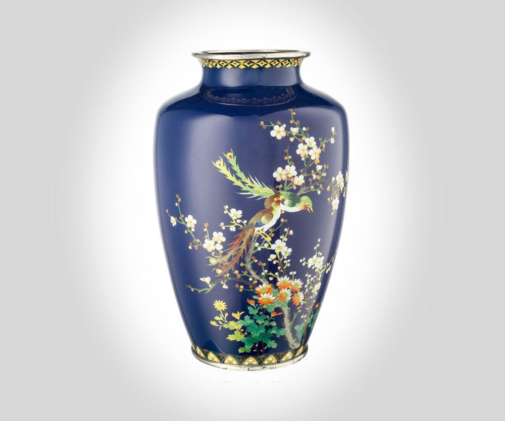 "gold satsuma vase of japanese meiji silver wire cloisonne vase w exotic birds etsy intended for dŸ""Žzoom"