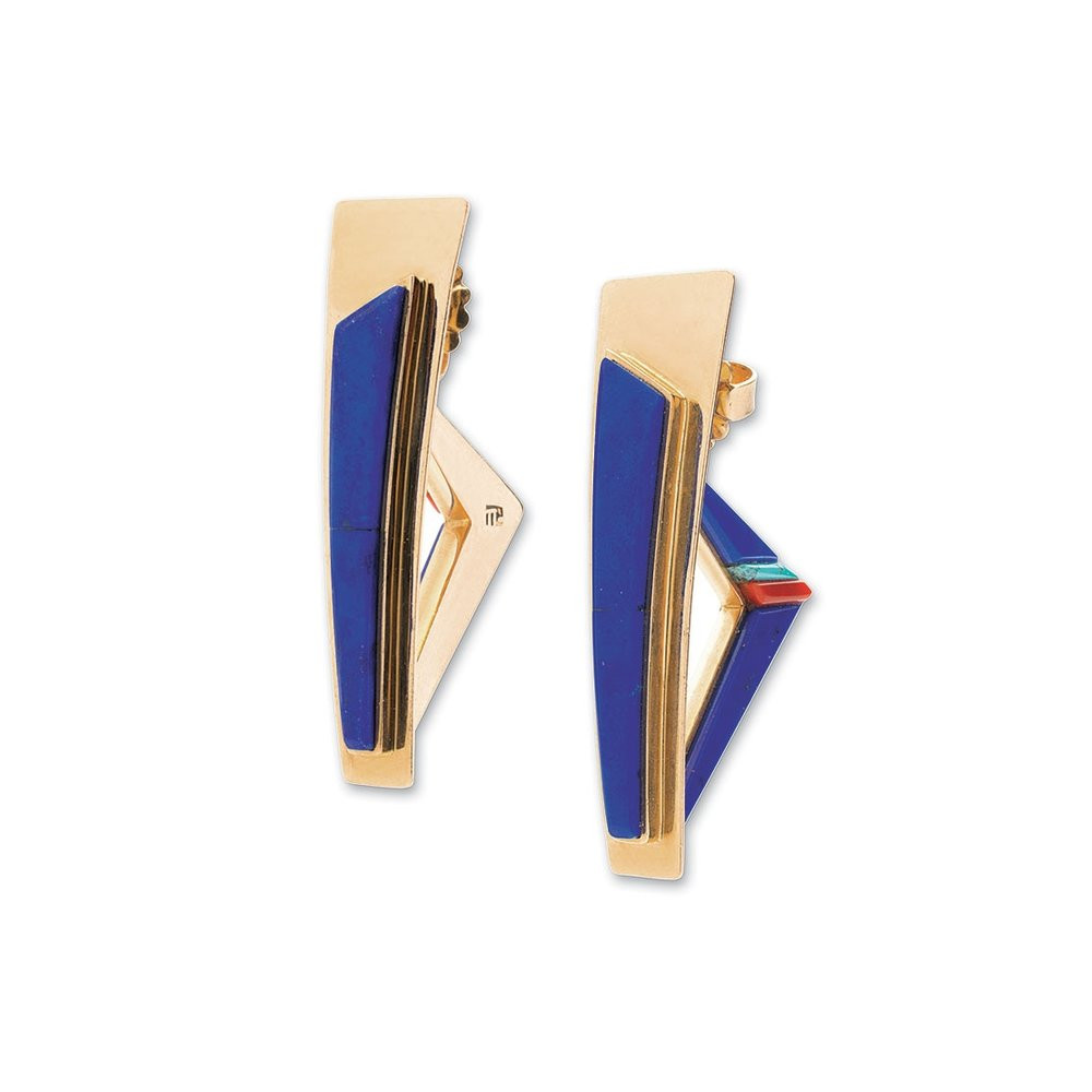 gold vase filler rocks of the newsstand ornament magazine within lapis lazuli earrings of coral turquoise and fourteen karat gold 4 1 centimeters long