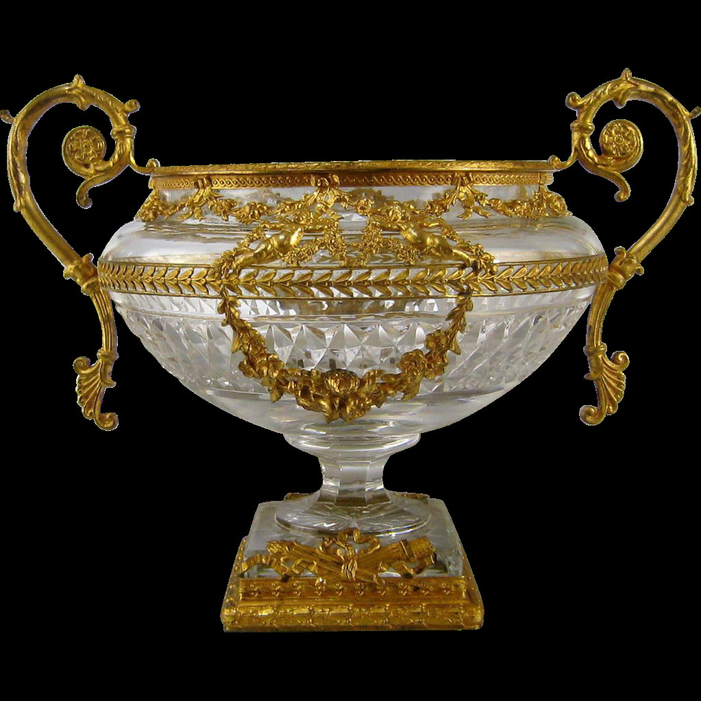 Gorham Lady Anne Crystal Bud Vase Of French Crystal Vase ormolu Mounts C1890 Antique Dore Bronze Cut Intended for French Crystal Vase ormolu Mounts C1890 Antique Dore Bronze Cut Glass Urn