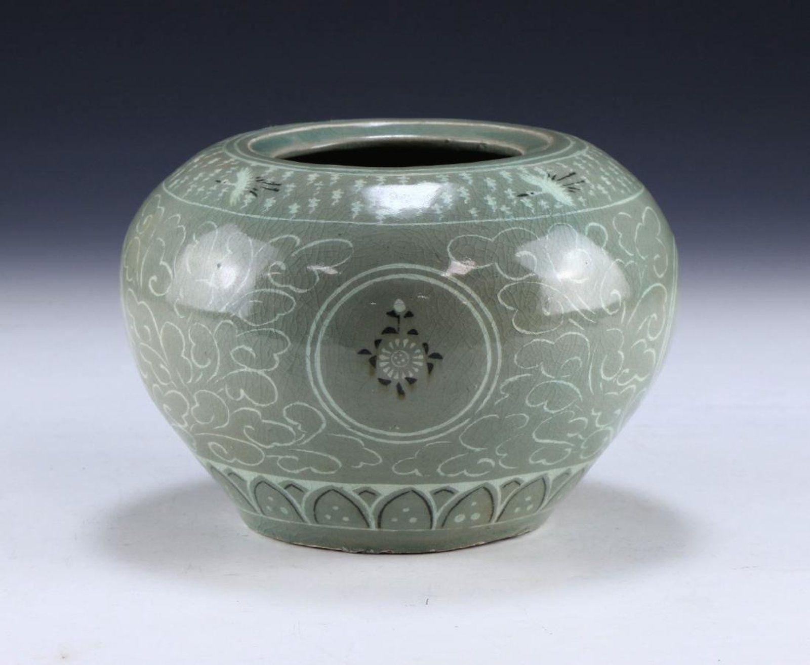 goryeo celadon vase of a korean antique celadon glazed porcelain jar historic ceramic art with regard to a korean antique celadon glazed porcelain jar