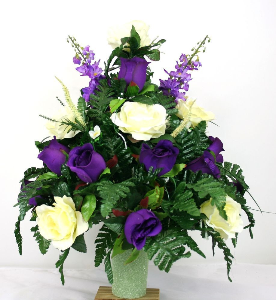 Grave Vase Inserts Of Stay In the Vase Cemetery Flowers Inside Fathers Day Cemetery Vase Flower Arrangement Featuring Purple and White Roses Crazyboutdeco