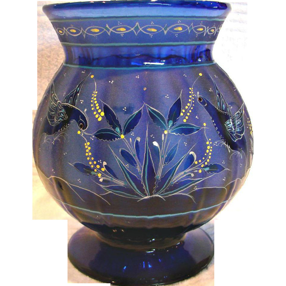green bohemian glass vase of english 8 cobalt blue paneled art glass vase intricate design regarding english 8 cobalt blue paneled art glass vase intricate design flying darcys antique treasures ruby lane