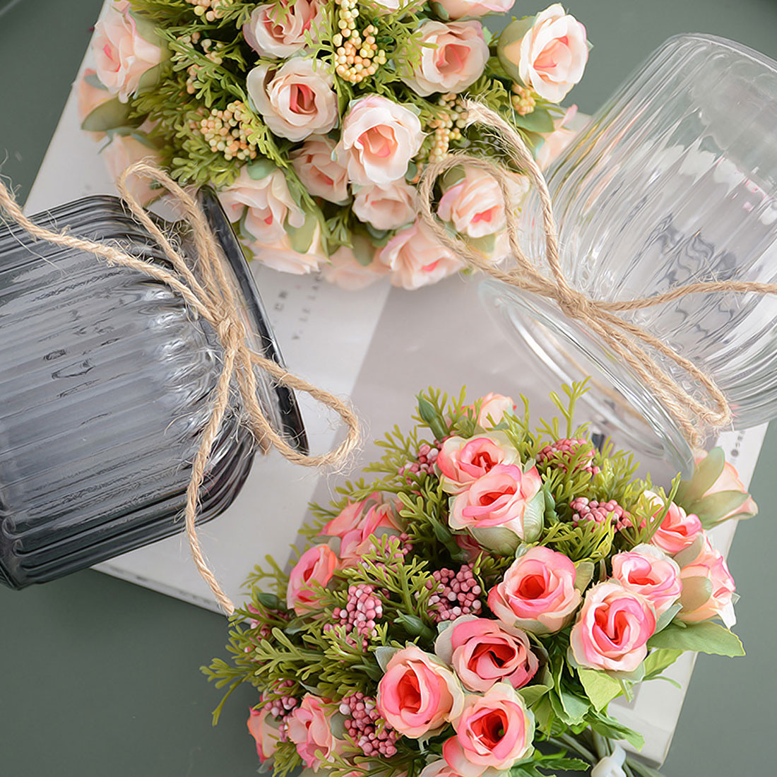 green leaves for vases of small bud silk roses simulation flowers artificial flowers 13 heads pertaining to total width20cm 1cm0 4 inch