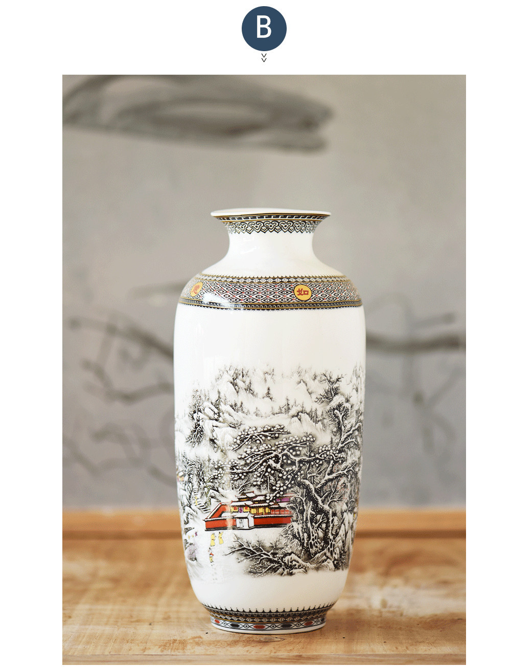 grey ceramic vase of new chinese style classical porcelain flower vase home decoration in wooden base is not included