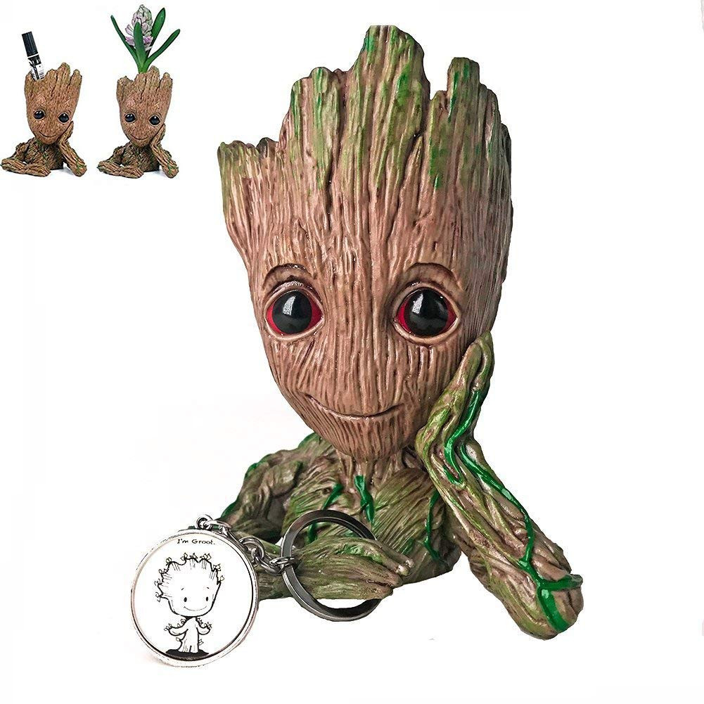 groot mini vase of amazon com yiomar baby groot flowerpot with keychain the guardians in amazon com yiomar baby groot flowerpot with keychain the guardians of galaxy flower pot cute baby action figures model toy pen pencil holder pvc plant