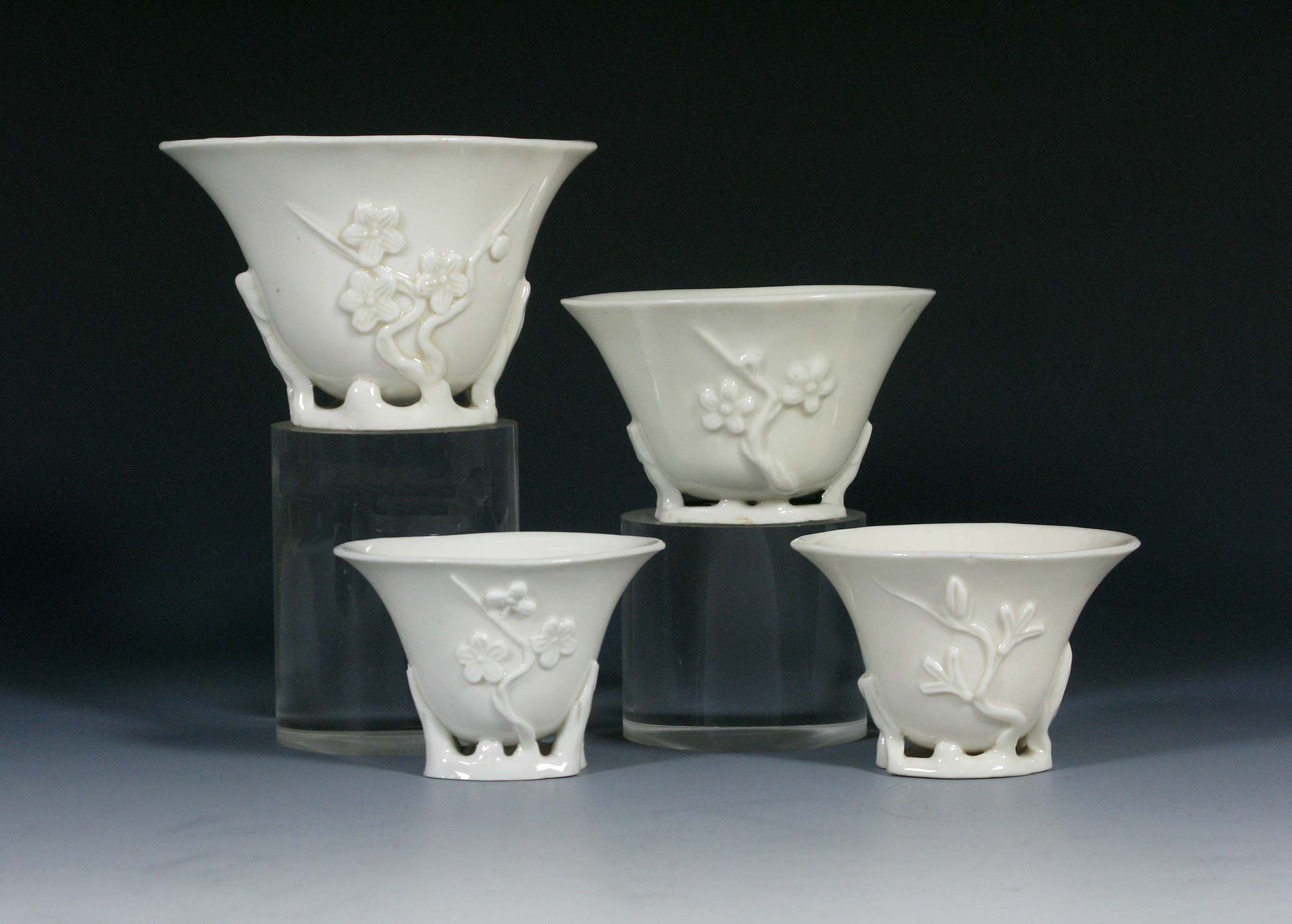 Hall Pottery Vase Of White Porcelain Collection Inside Chinese Dehua Wine Cups