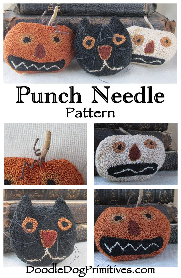 Halloween Vase Filler Of Punch Needle Pattern Pumpkins Black Cat Bowl Filler Shelf Intended for Halloween Punch Needle Bowl Filler Pattern Fall Pumpkins