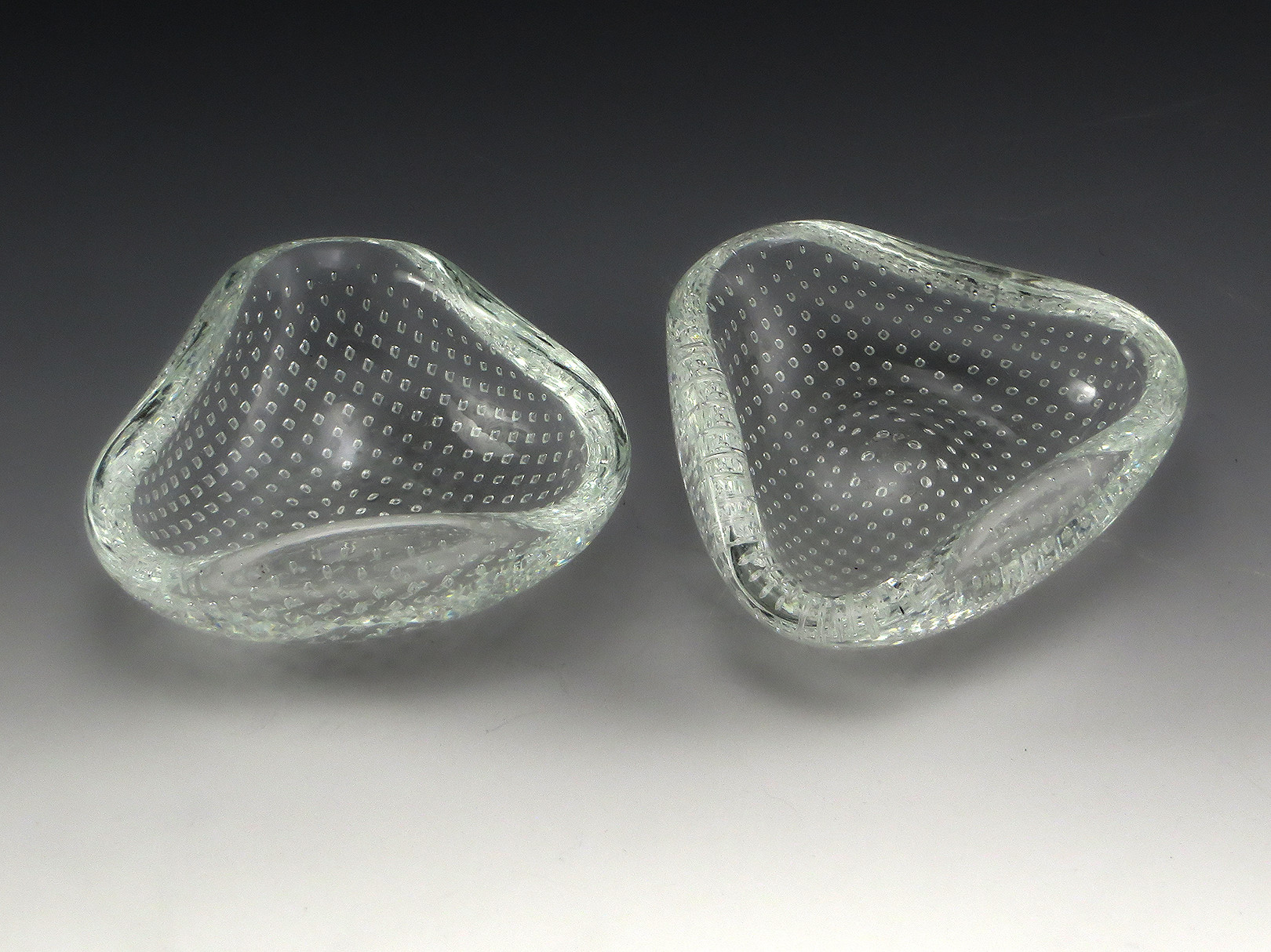 hand blown glass vases bowls of italian venini art glass petite bowls retro art glass regarding set of petite venini art glass bowls with precision embedded pattern of diamond shaped air bubbles