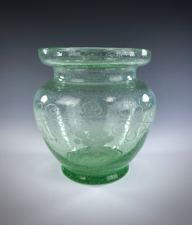 hand blown glass vases vintage of vintage seeded glass vase apple green color polished pontil for il fullxfull 1288339277 pq2y