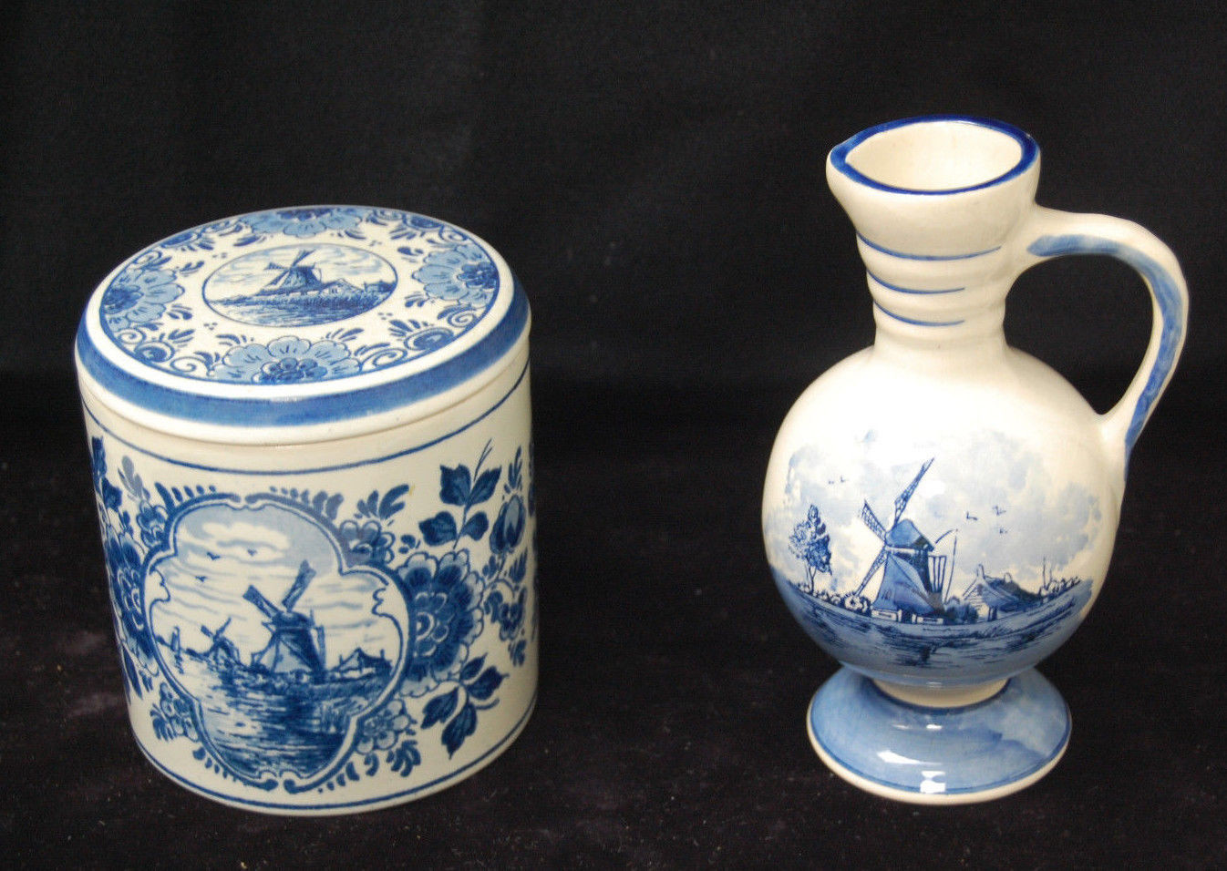 Hand Painted Delft Holland Bud Vase Of Set Of 2 Delft Blue Pieces Holland Vase W Handle Canister W Lid Pertaining to 1 Of 9only 1 Available