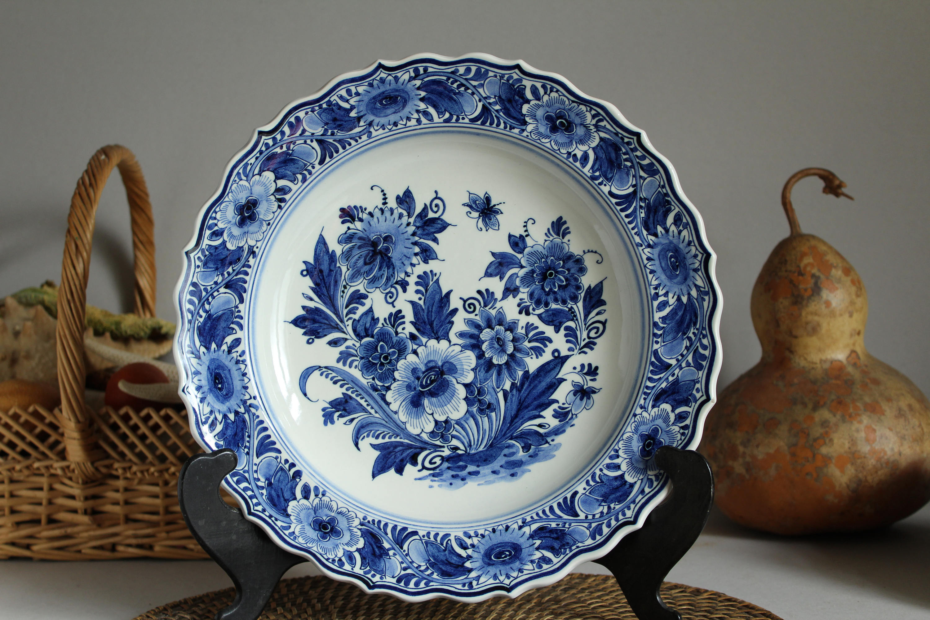 "hand painted delft holland vase of genuine delft blue vintage plate by zenith gouda in holland etsy in dŸ""Žpowia™ksz"