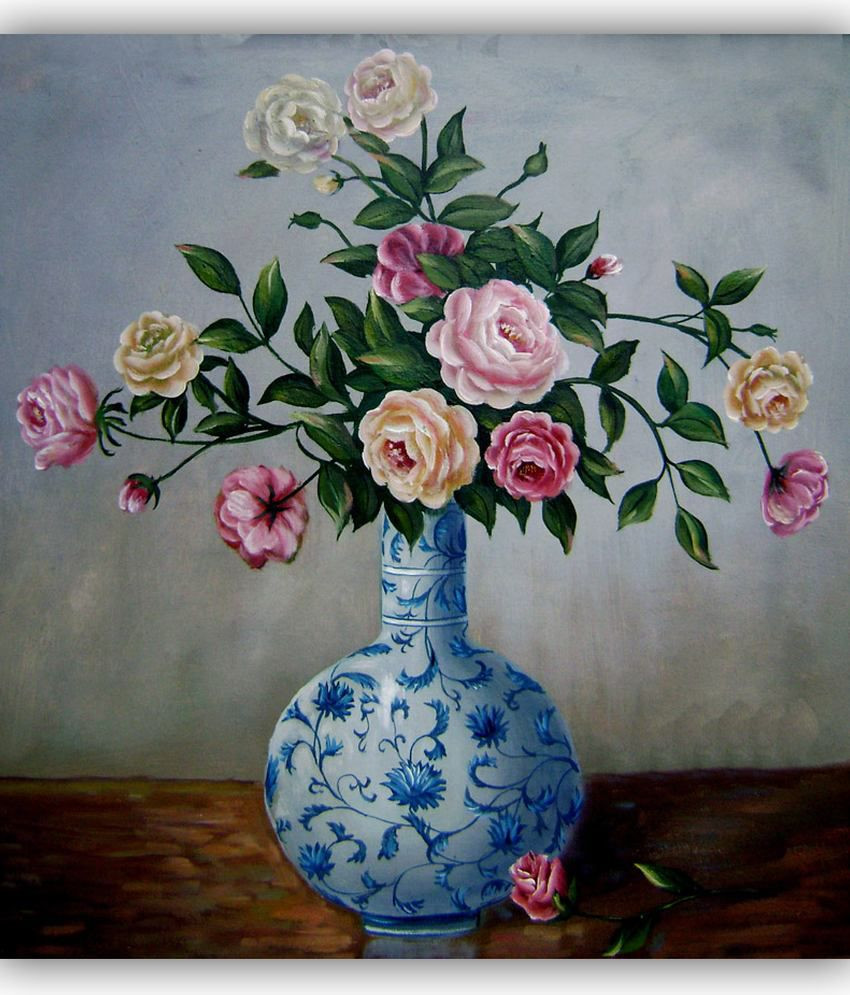 hand painted flower vases of vitalwalls oil painting flowers in chinese blue and white vase with vitalwalls oil painting flowers in chinese blue and white vase premium canvas art print