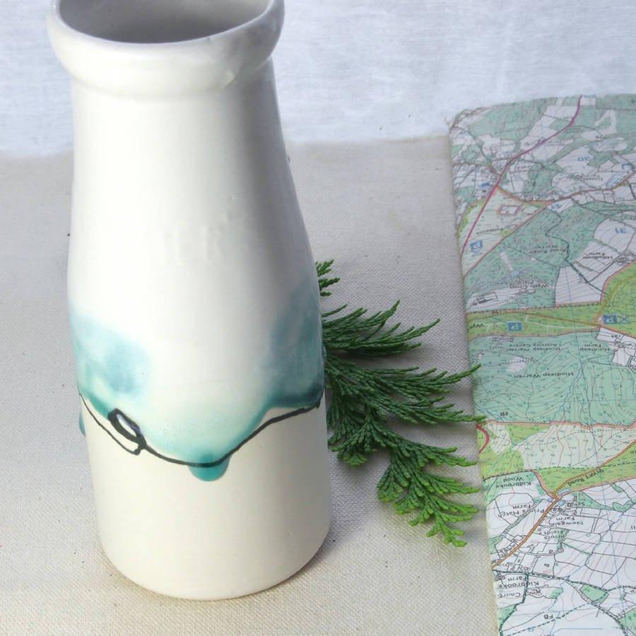 handmade ceramic vases uk of milk bottle vase with landscape painting by helen rebecca ceramics throughout milk bottle vase with landscape painting