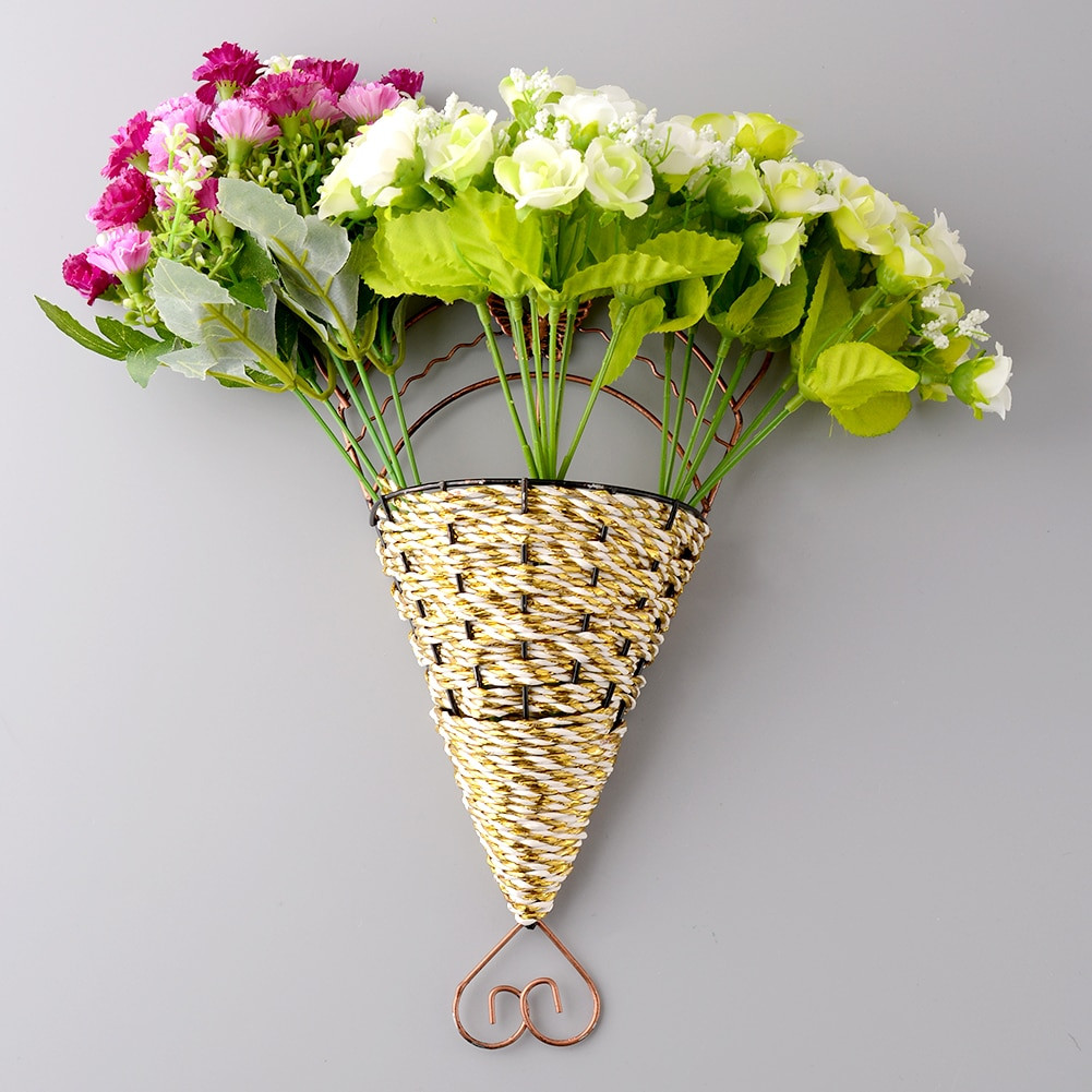 Handmade Flower Vase Of New Lovely Handmade Sector Wall Hanging Basket Craft Fake Flower within New Lovely Handmade Sector Wall Hanging Basket Craft Fake Flower Vase Holder Cafe Office Home Decor Randomly In Vases From Home Garden On Aliexpress Com