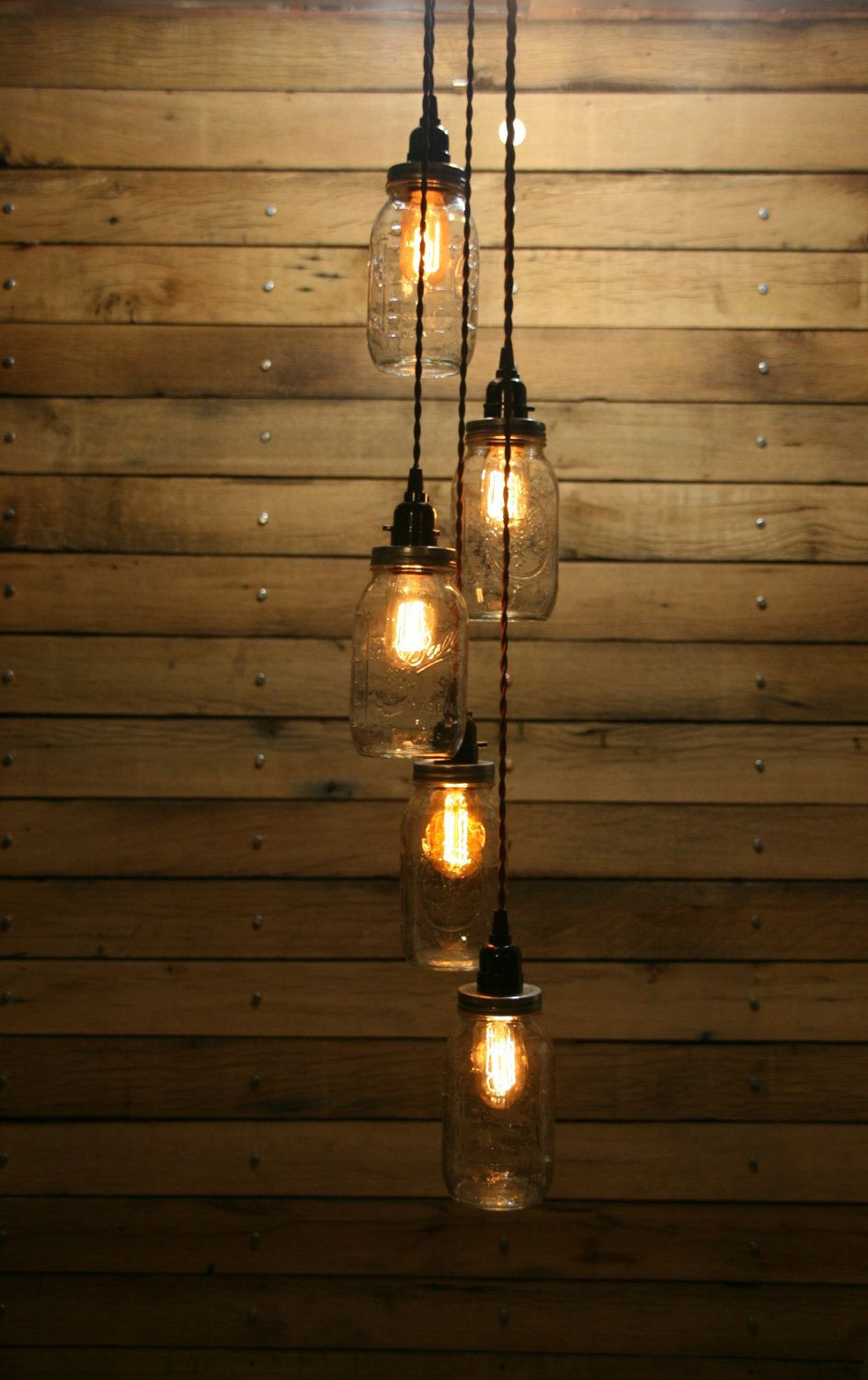 hanging lightbulb vase of 5 jar pendant light mason jar chandelier light staggered length within 5 jar pendant light mason jar chandelier light staggered length hanging mason jar hanging pendant light 179 00 via etsy