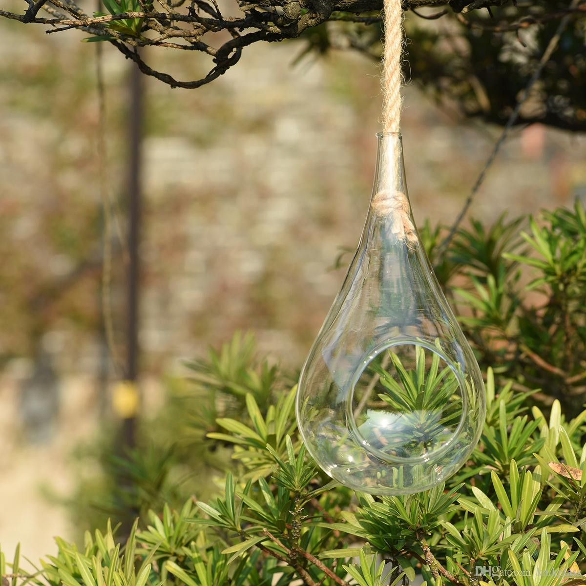 hanging teardrop vase of 2018 11 inch height large glass drop globeheld by rope hanging inside 11 inch height large glass drop globeheld by rope hanging glass teardrop shape