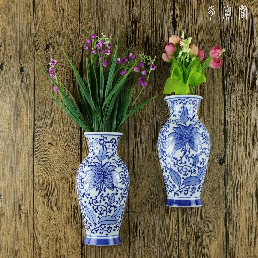 hanging wall vase of jingdezhen ceramics painted blue and white flower bottle hanging intended for jingdezhen ceramics painted blue and white flower bottle hanging wall decorative pendant ornaments wall vase half bottle in vases from home garden on