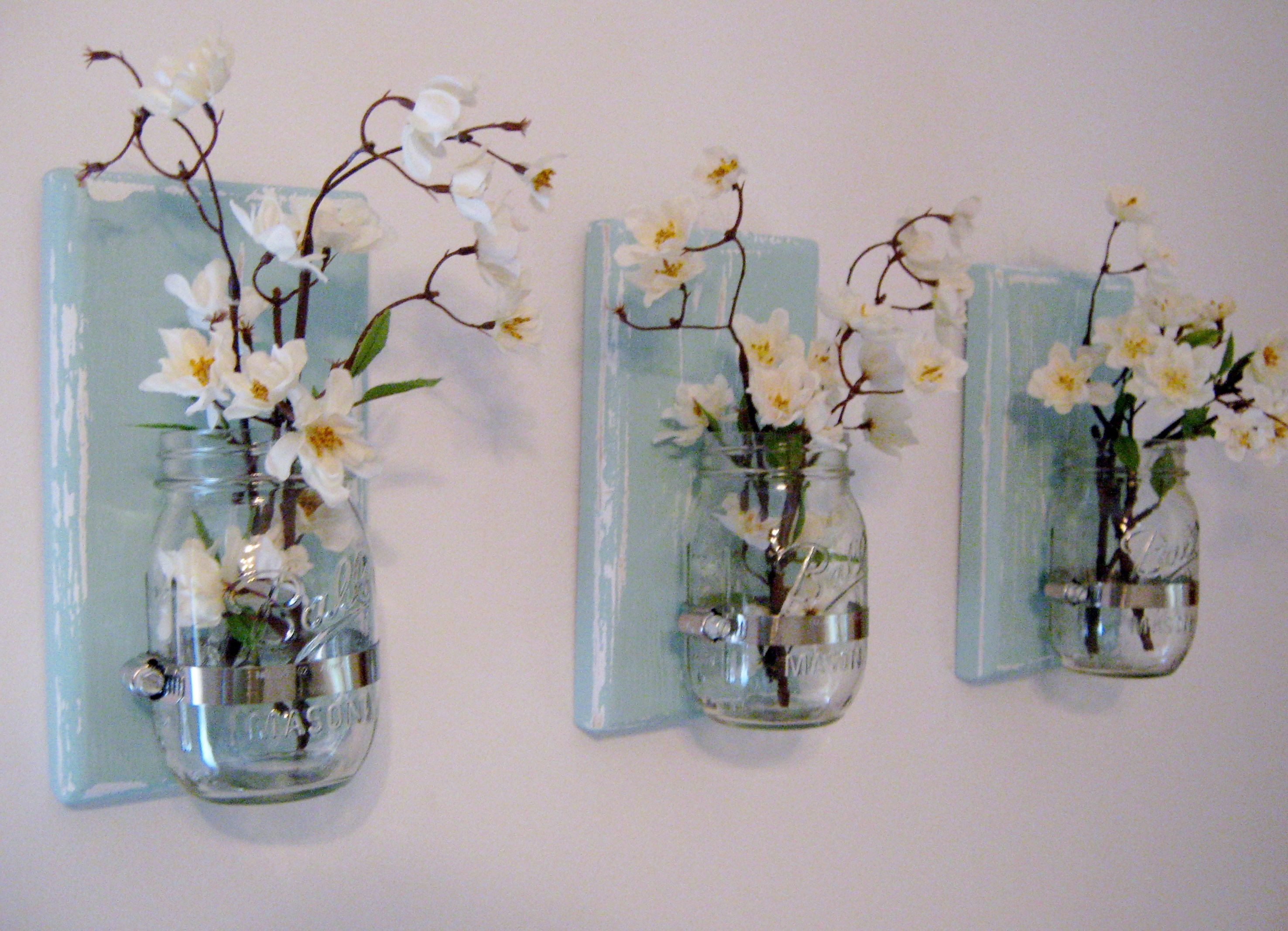 Hanging Wall Vase Sconces Of Pin by Georgia Leppell On Bathroom Ideas Pinterest Mason Jar within Rustic Farmhouse Mason Jar Wall Sconces Set Of 3 Mason Jar Sconces Blue Wall Sconces Blue Sconces Bedroom Sconces Mason Jar Wall Decor