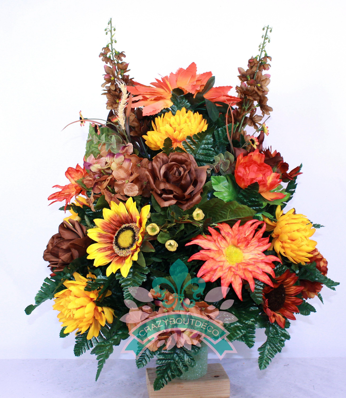 Headstone Vase Flower Arrangements Of Beautiful Xl Fall Flower Mixture Cemetery Arrangement for 3 Inch Pertaining to Beautiful Xl Fall Flower Mixture Cemetery Arrangement for 3 Inch Vase by Crazyboutdeco On Etsy