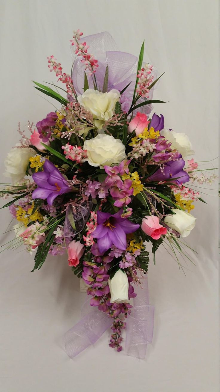Headstone Vase Flower Arrangements Of the 24 Best Cemetery Vase Images On Pinterest Vase Cemetery and Ferns with Spring Cemetery Mausoleum Vase Pink and Cream Roses Lavender Lilies Lavender Wisteria Lilacs