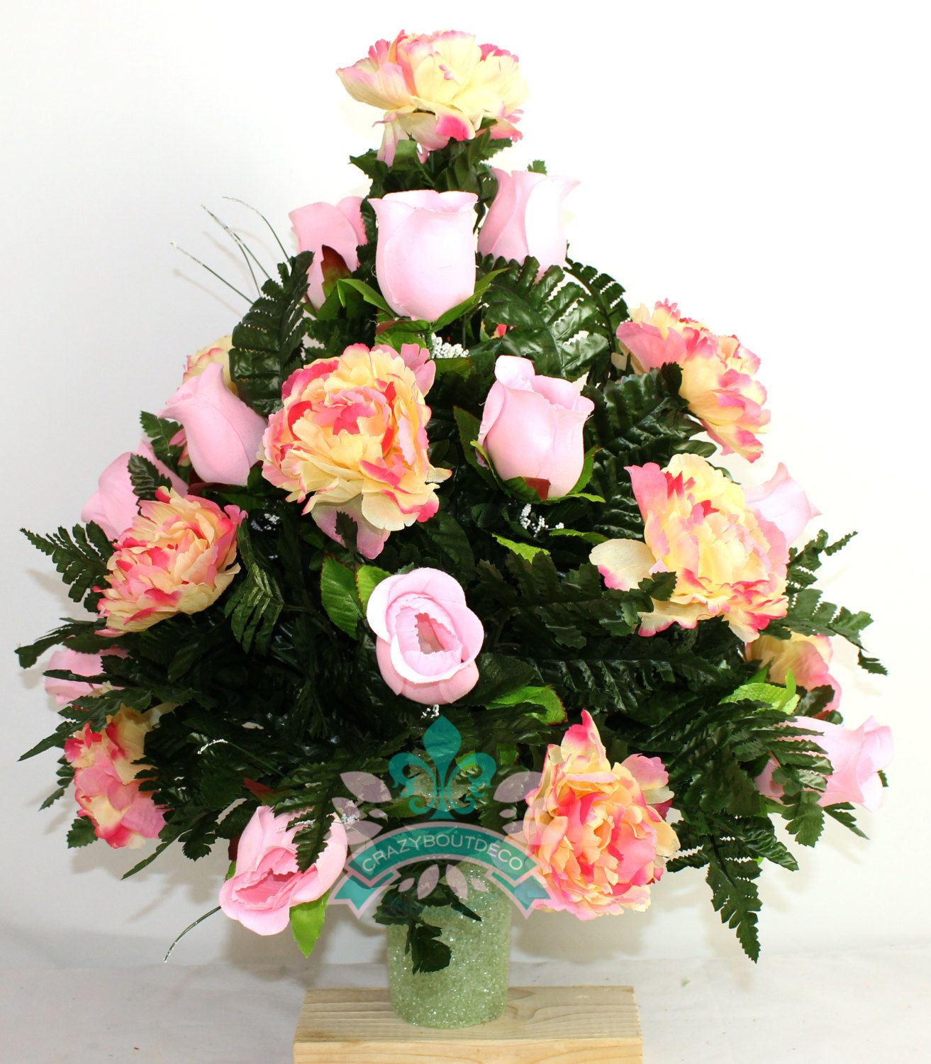 Headstone Vase Flower Arrangements Of Xl Beautiful Spring Cemetery Flower Arrangement for A 3 Inch Vase Inside Xl Beautiful Pink Roses and Peonies Cemetery Flower Arrangement for A 3 Inch Vase by Crazyboutdeco