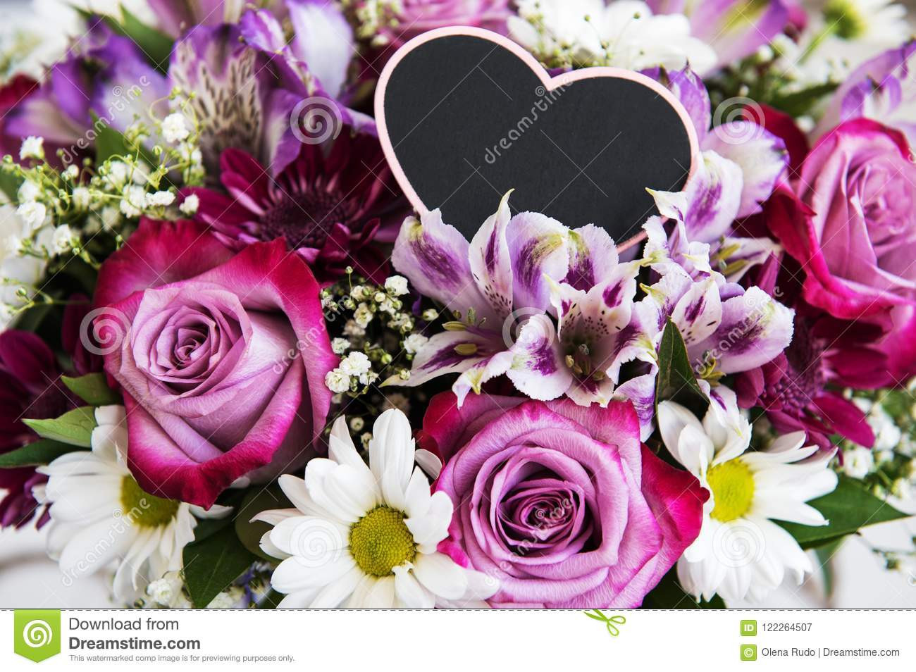 heart shaped glass vase of bouquet of pink flowers stock image image of message 122264507 within bouquet of pink flowers roses and daisies and heart shaped blackboard for message