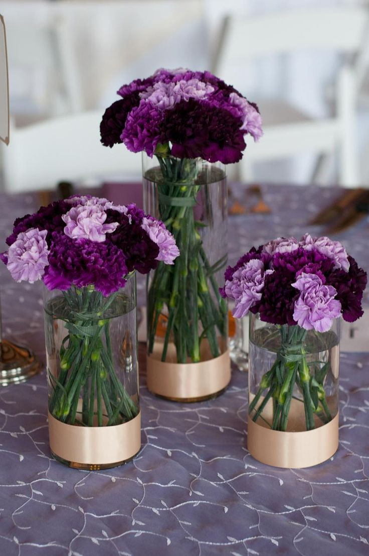 Heart Shaped Vases Bulk Of 1052 Best Lets Party Images On Pinterest Centerpieces Table Regarding Trio Of Cylinder Vases with Varying Shades Of Purple Carnations Mounded On top and Simple Champagne