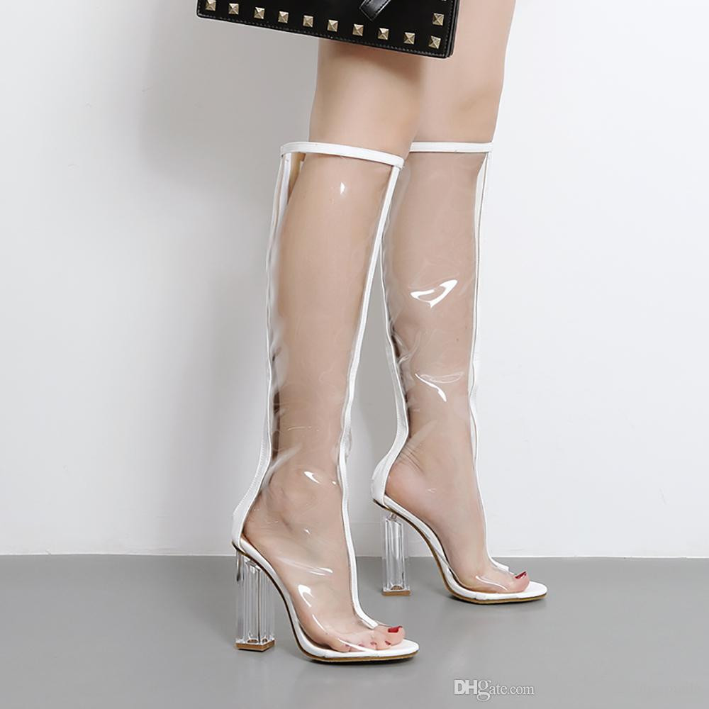 high heel vase of n372 summer sexy transparency knee high boots square heel peep toe with n372 summer sexy transparency knee high boots square heel peep toe women sandals woman party wedding shoes fashion high heels boots high heels heels from