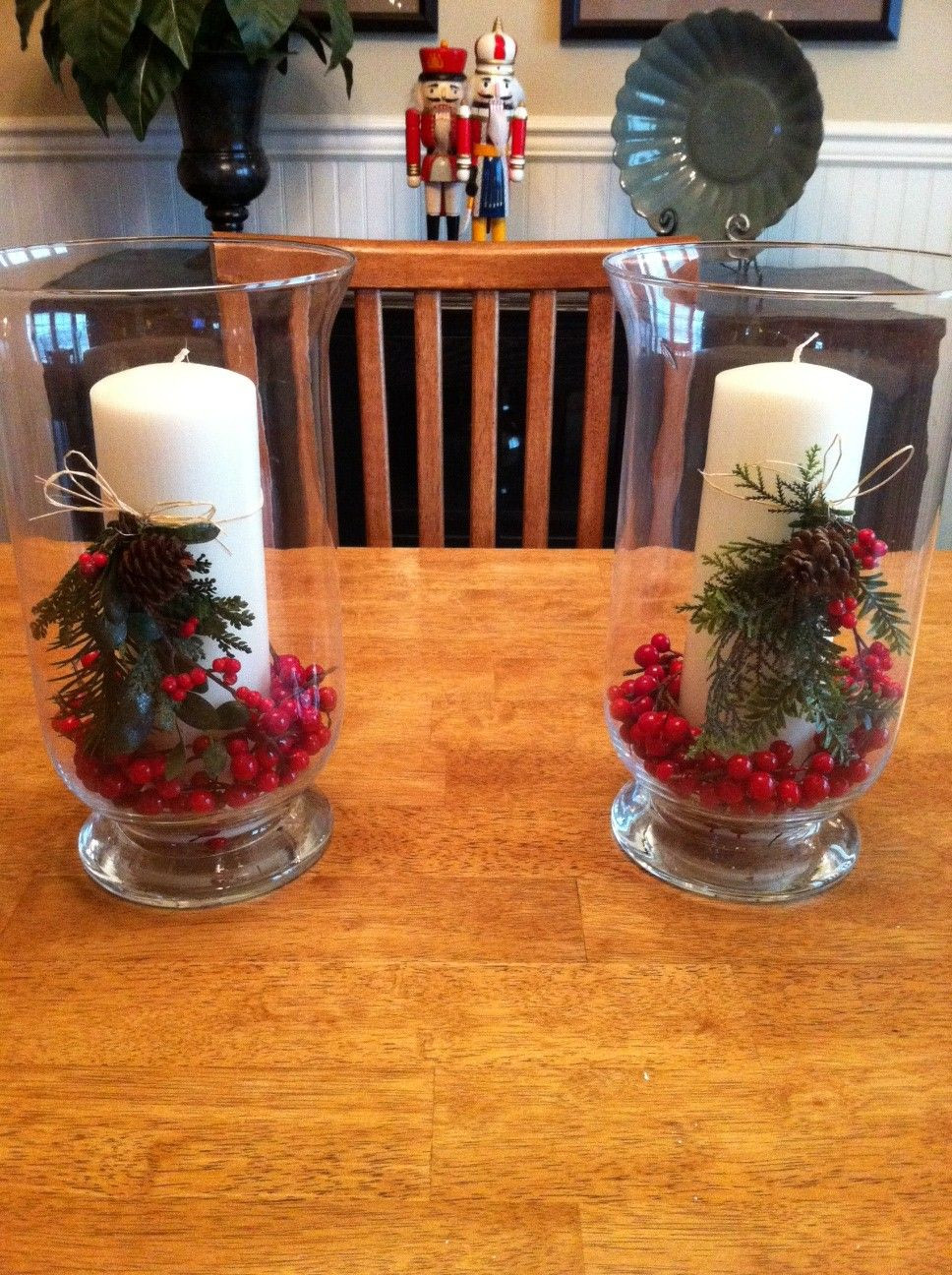 hobby lobby vase filler of wanted something festive for christmas so i used the hurricane pertaining to the hurricane candle holders from homegoods and tied artificial evergreens and berries with raffia to the candles i couldnt find cranberry filler so