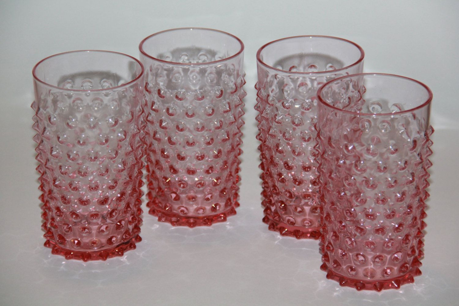 Hobnail Clear Glass Vase Of Antique Pink Hobnail Glass Tumblers Depression Glass Set Of 4 with Antique Pink Hobnail Glass Tumblers Depression Glass Set Of 4 40 00 Via Etsy