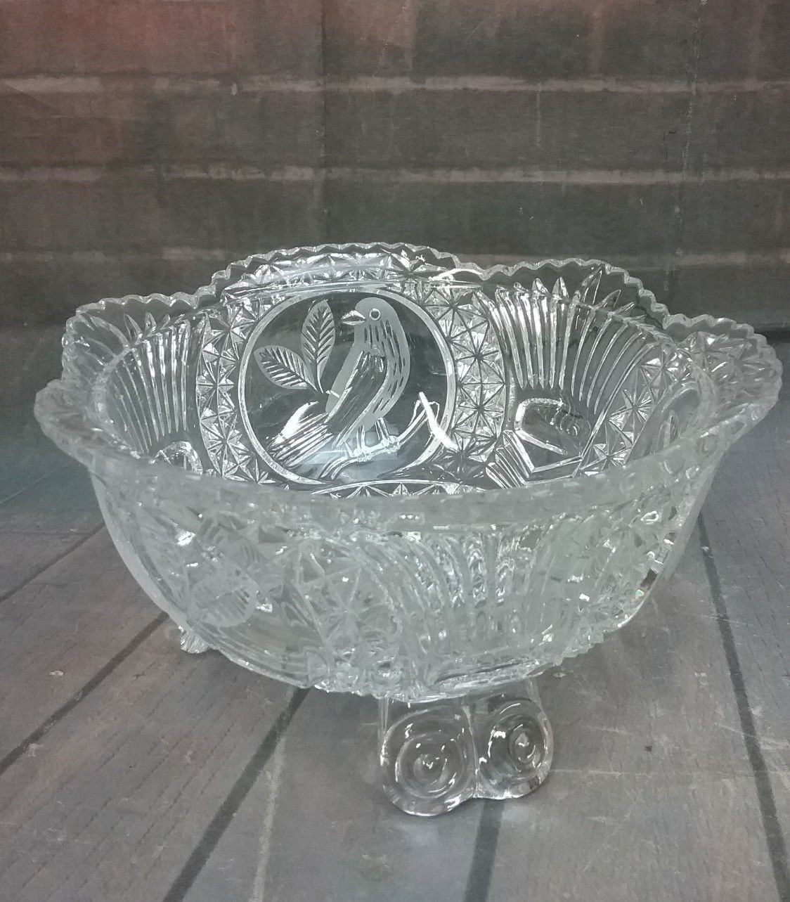 Hoosier Clear Glass Vase Of Vtg Hofbauer Bird byrdes Cut Glass 7 5 Crystal 3 toed Bowl German Pertaining to 1 Of 5only 1 Available