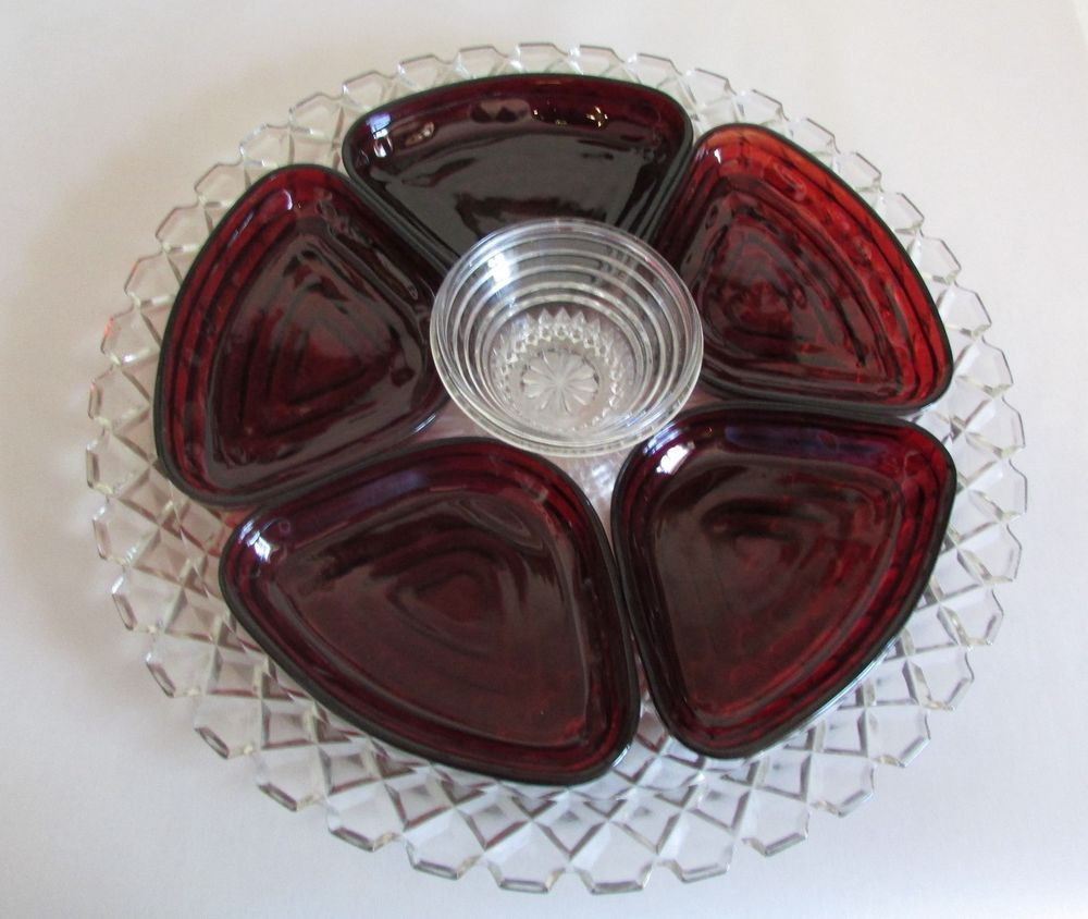 hoosier glass vase 4063 b of vintage 7 pcs anchor hocking ruby red manhattan glass lazy susan intended for vintage 7 pcs anchor hocking ruby red manhattan glass lazy susan relish red glass glass