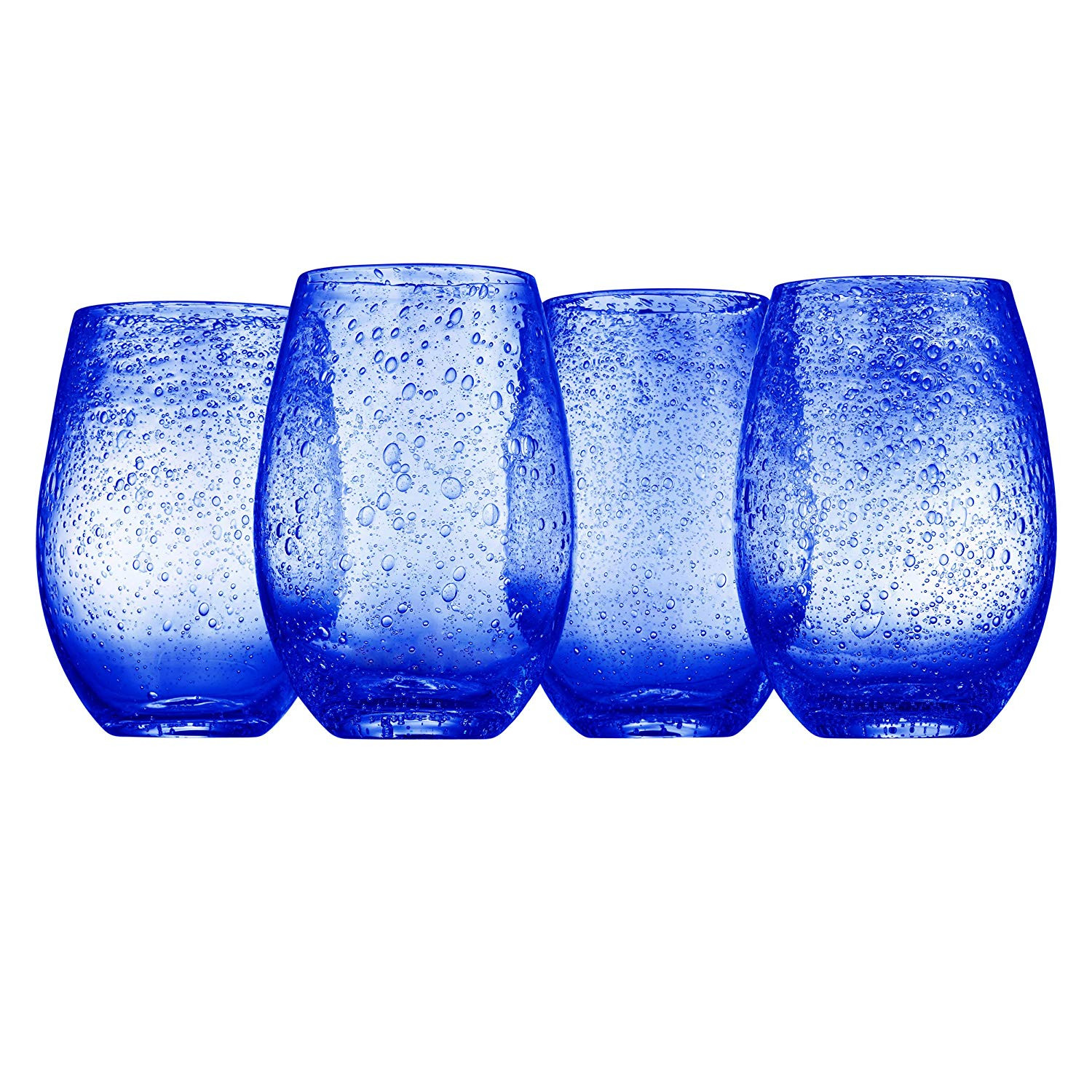 how to identify murano glass vase of amazon com artland iris stemless glasses cobalt set of 4 wine pertaining to amazon com artland iris stemless glasses cobalt set of 4 wine glasses