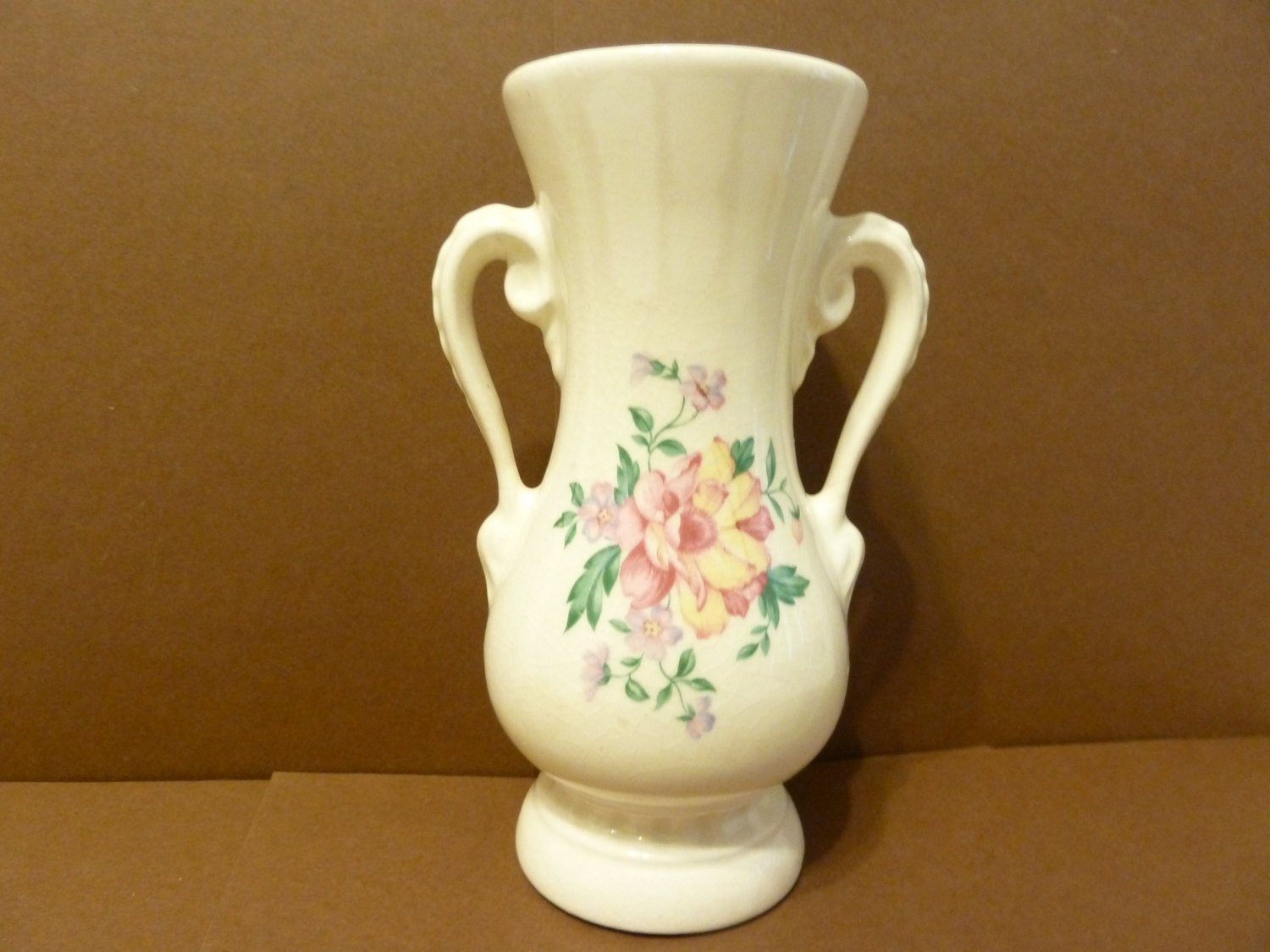 "hull art pottery wildflower vase of bud vase double handle victorian style floral bouquet by inside dŸ""Žzoom"