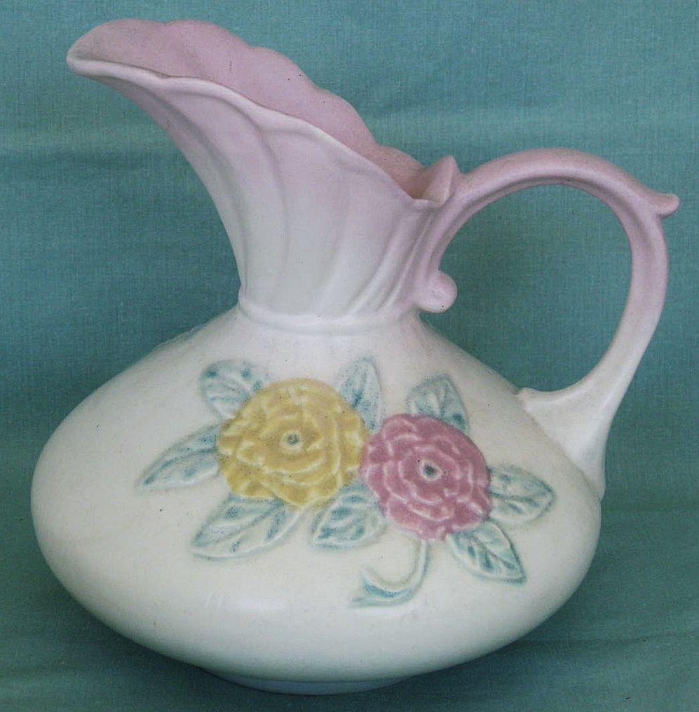 hull usa pottery vase of hull pottery open rose pitcher ewer no 105 7 165 i love vintage regarding hull pottery open rose pitcher ewer no 105 7 165