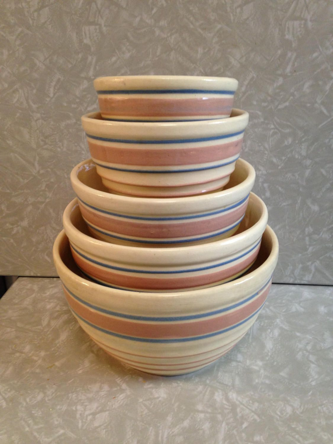 hull usa vase of 5 vintage beehive mixing nesting bowls pink and blue striped set of with 5 vintage beehive mixing nesting bowls pink and blue striped set of five hull pottery
