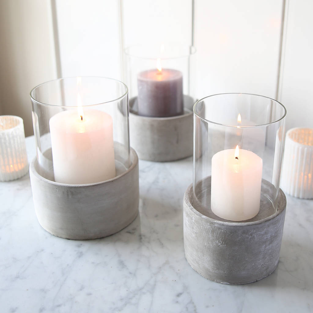 hurricane vase with pillar candle of concrete candle holder by red lilly notonthehighstreet com for concrete candle holder