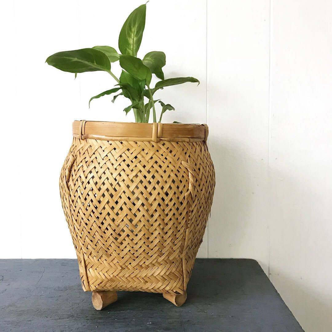 hyalyn pottery vase of vintage woven bamboo basket ginger jar basket with feet rattan with vintage woven bamboo basket ginger jar basket with feet rattan planter asian boho style