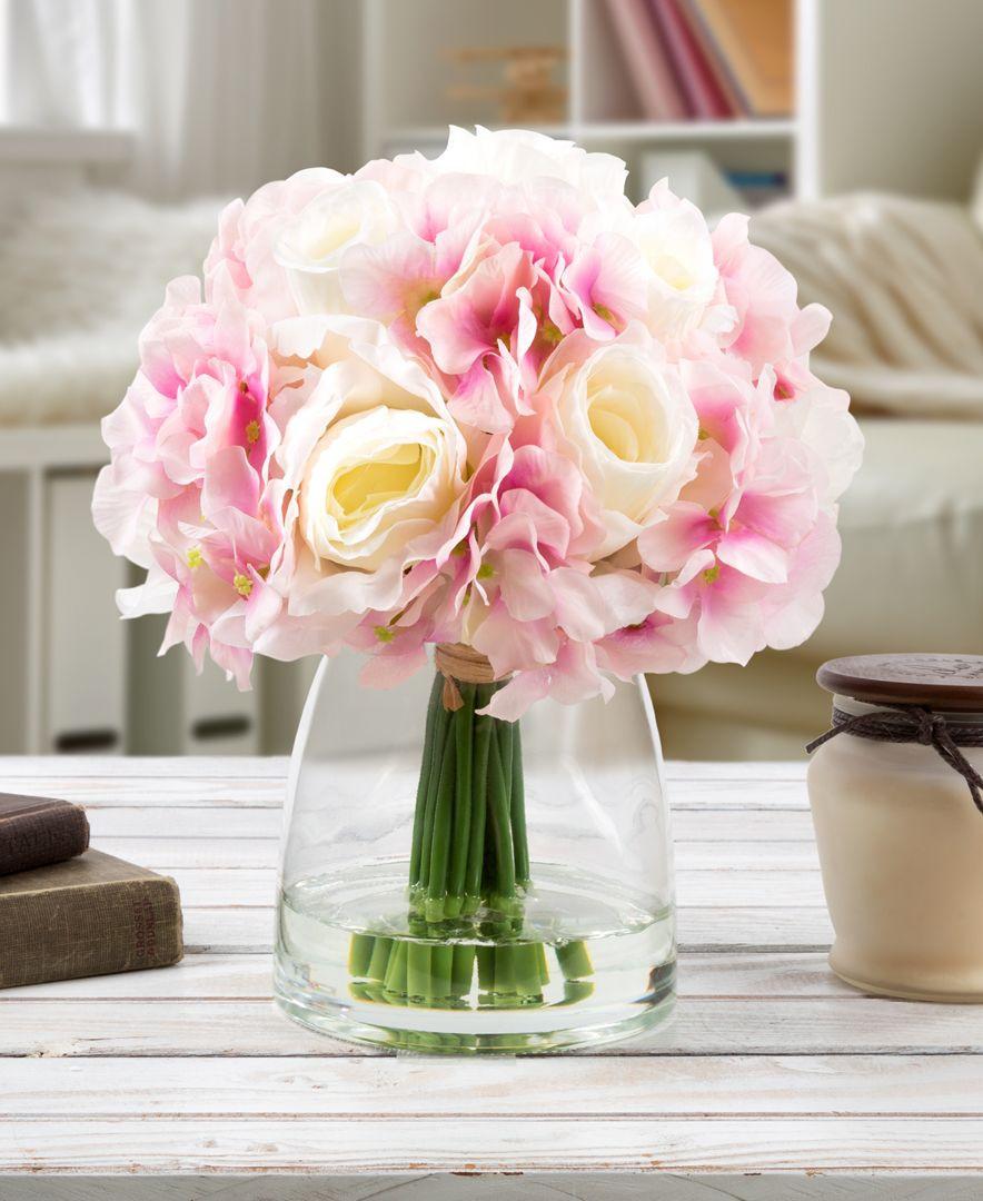 hydrangea artificial flowers in vase of pure garden pink hydrangea cream rose floral arrangement with vase in pure garden pink hydrangea cream rose floral arrangement with vase