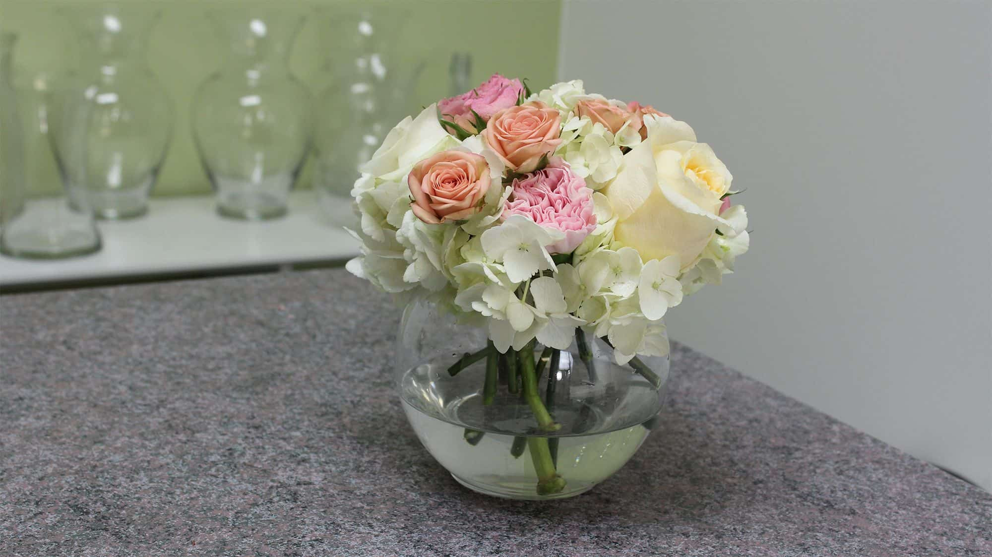 hydrangea in glass vase of stunning stage in all white and pink white flower vases white inside how to make a small hydrangea centerpiece final