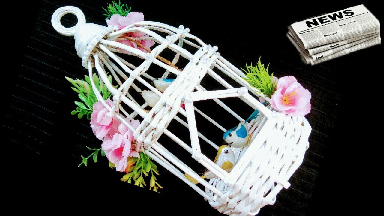ice cream stick flower vase of how to make newspaper bird cage youtube throughout how to make newspaper bird cage