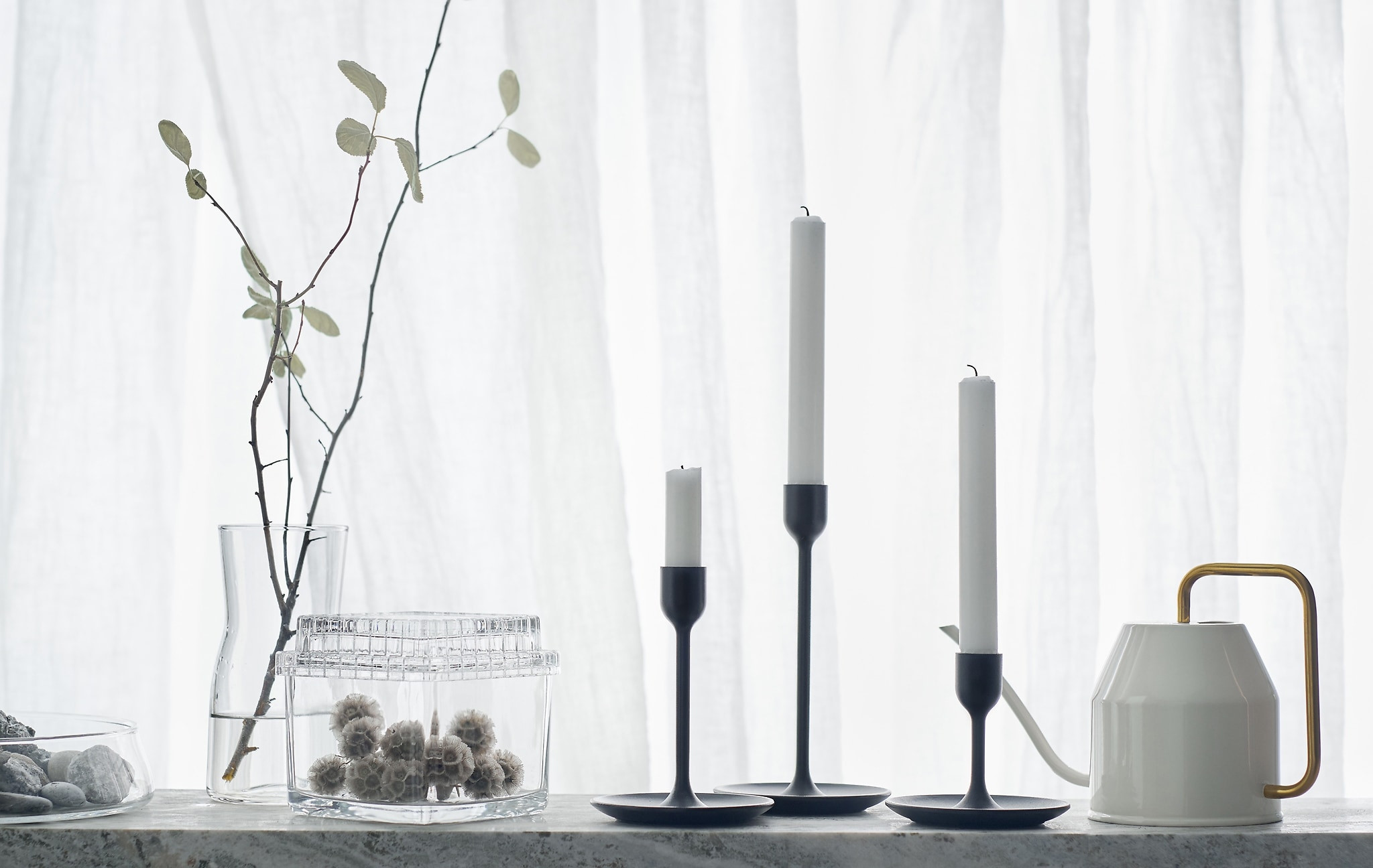 ikea glass bowl vase of ideas ikea intended for three black candlesticks of different heights on a white backdrop with watering can and glass jars