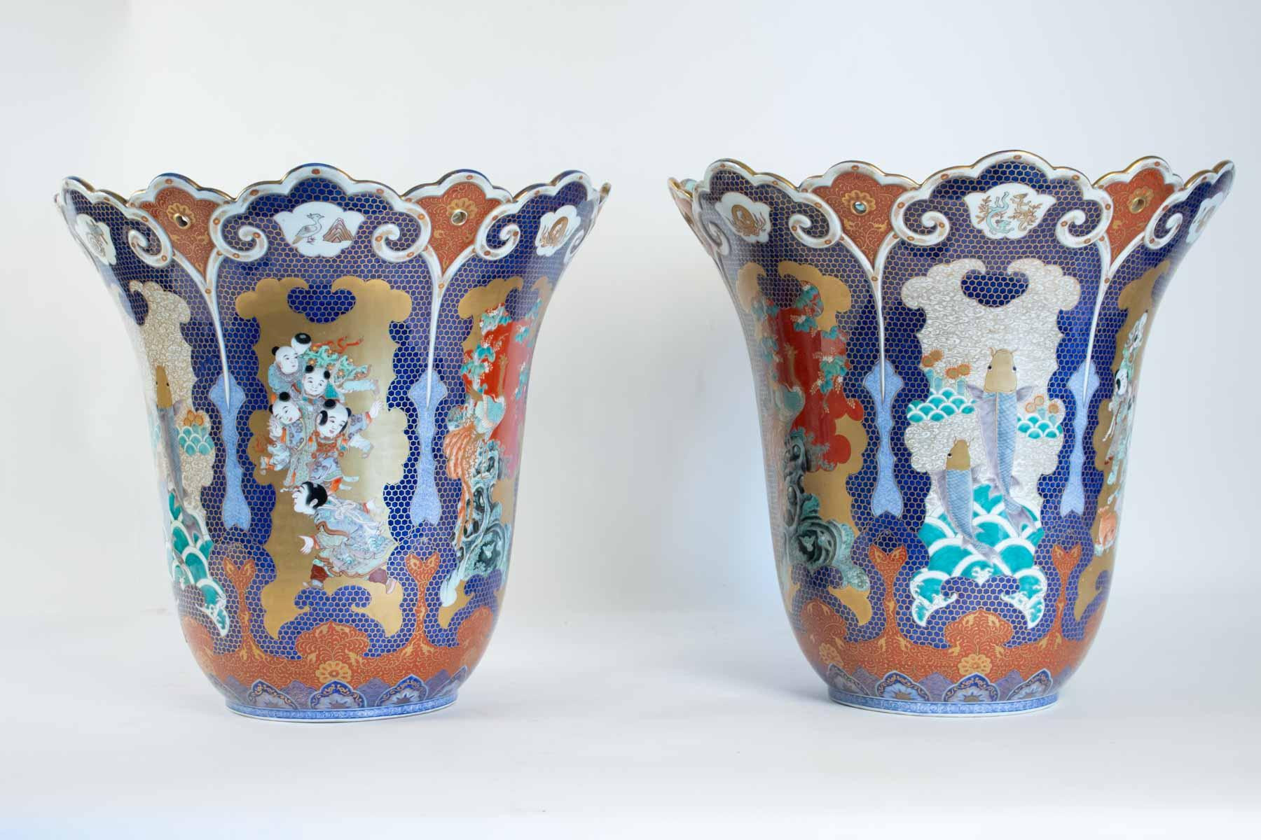 Ikebana Vase Pottery Of Important Pair Of Vases From Japan Signed Fuqukawa for Sale at 1stdibs for Img 7864 Master