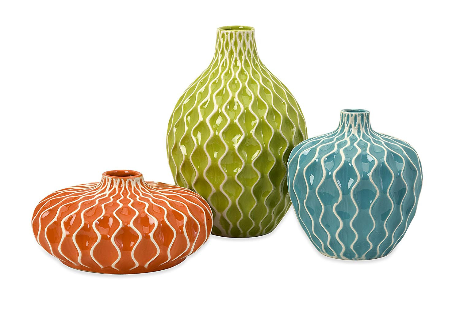 imax agatha ceramic vases set of 3 of amazon com imax 25016 3 agatha ceramic vases set of 3 decorative intended for amazon com imax 25016 3 agatha ceramic vases set of 3 decorative vases for flowers handcrafted vessels with wave surface texture design