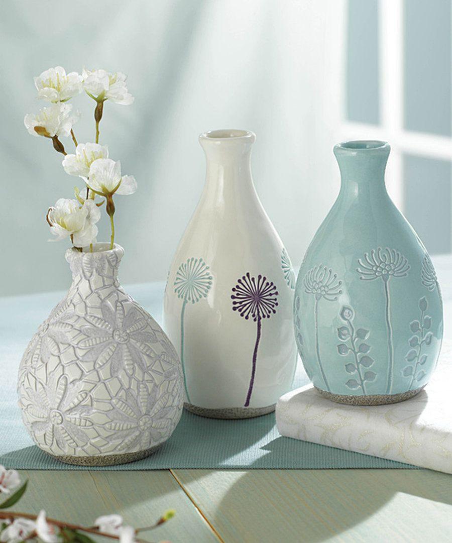imax agatha ceramic vases set of 3 of image of ceramic vase set vases artificial plants collection with ceramic vase set collection look at this spring bud vase set on zulily today of image