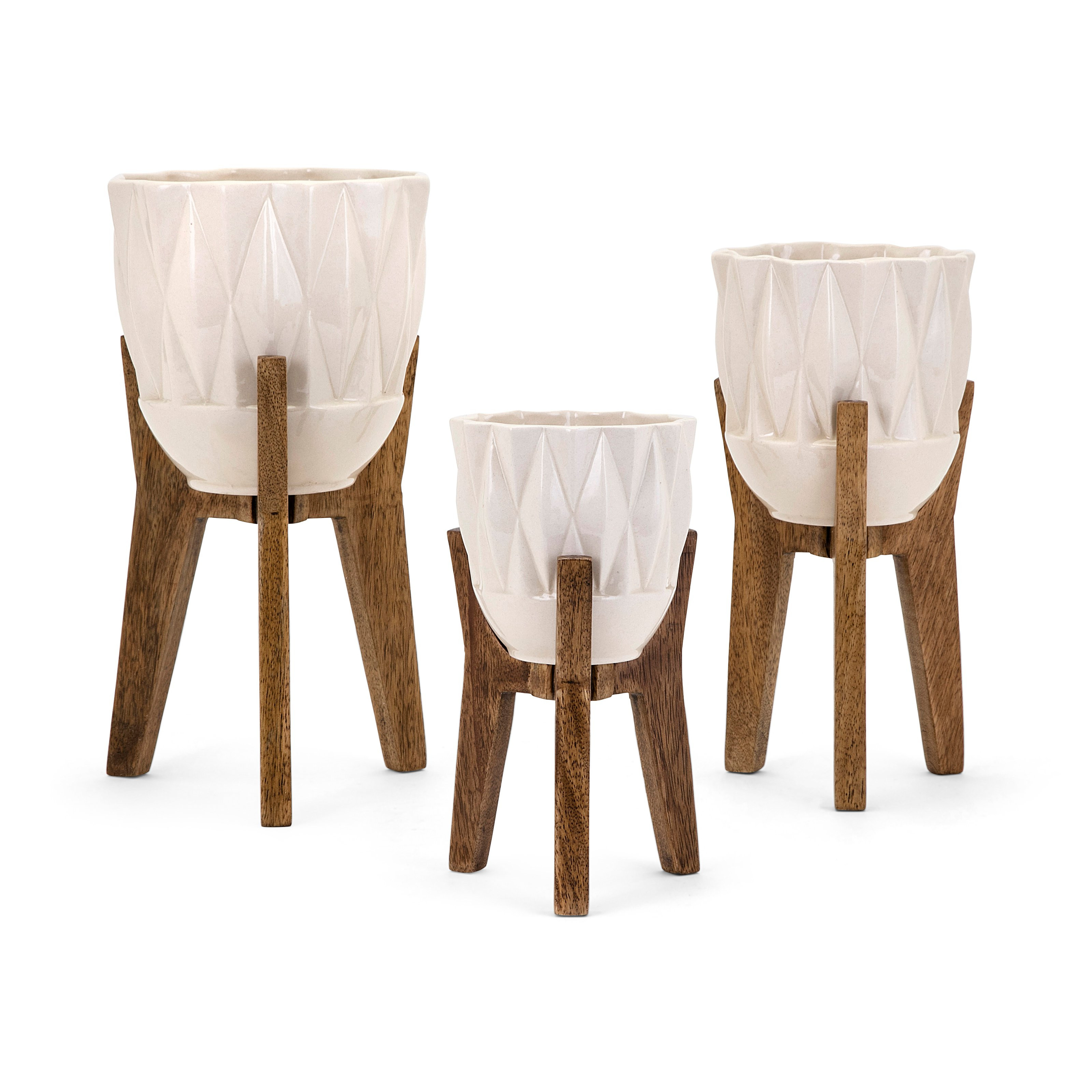 imax agatha ceramic vases set of 3 of imax amara table vase on wood stand set of 3 hayneedle with regard to masterxma6380
