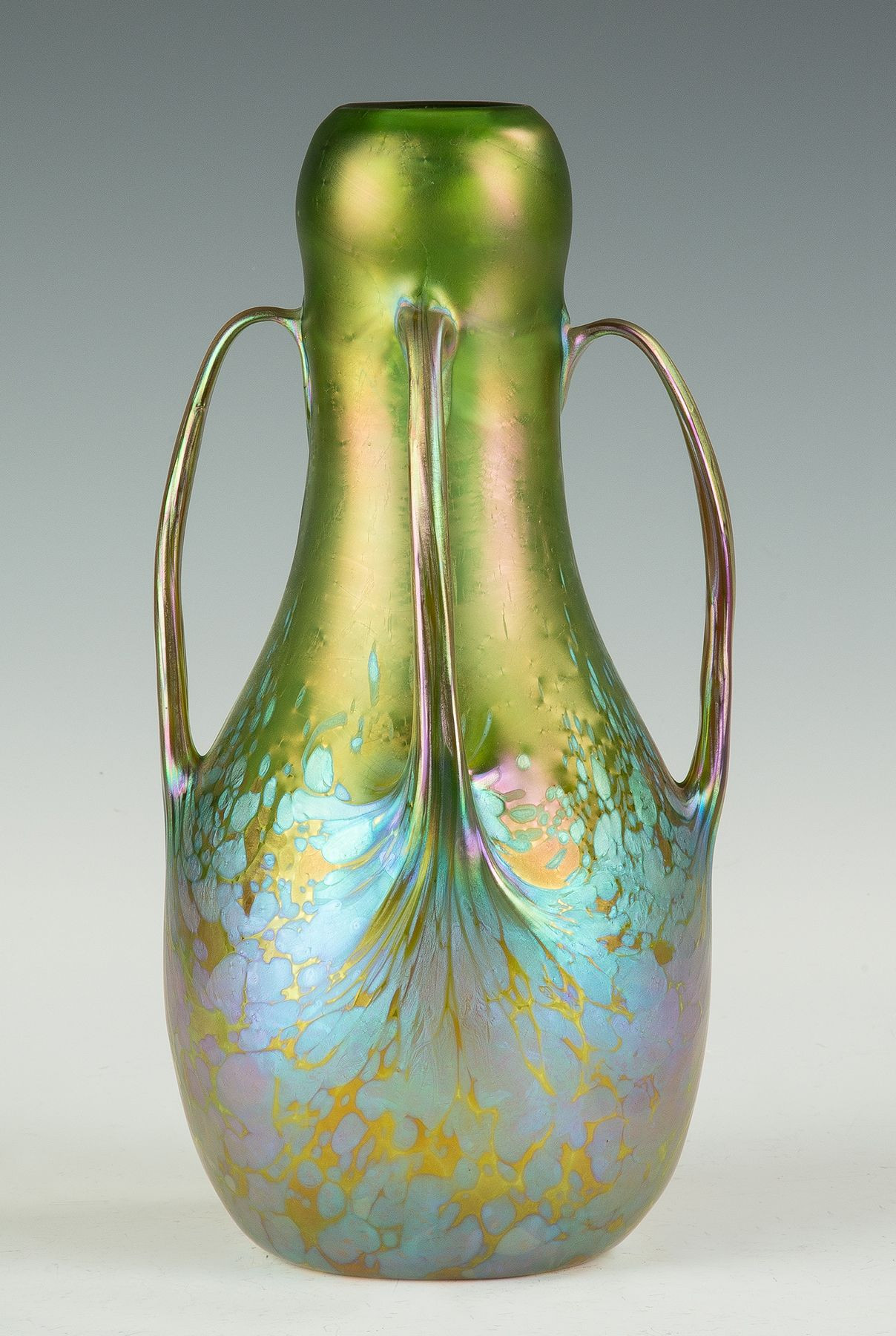 iridescent glass vase of a fine loetz oil spot handled vase cottone auctions glass art with regard to a fine loetz oil spot handled vase cottone auctions