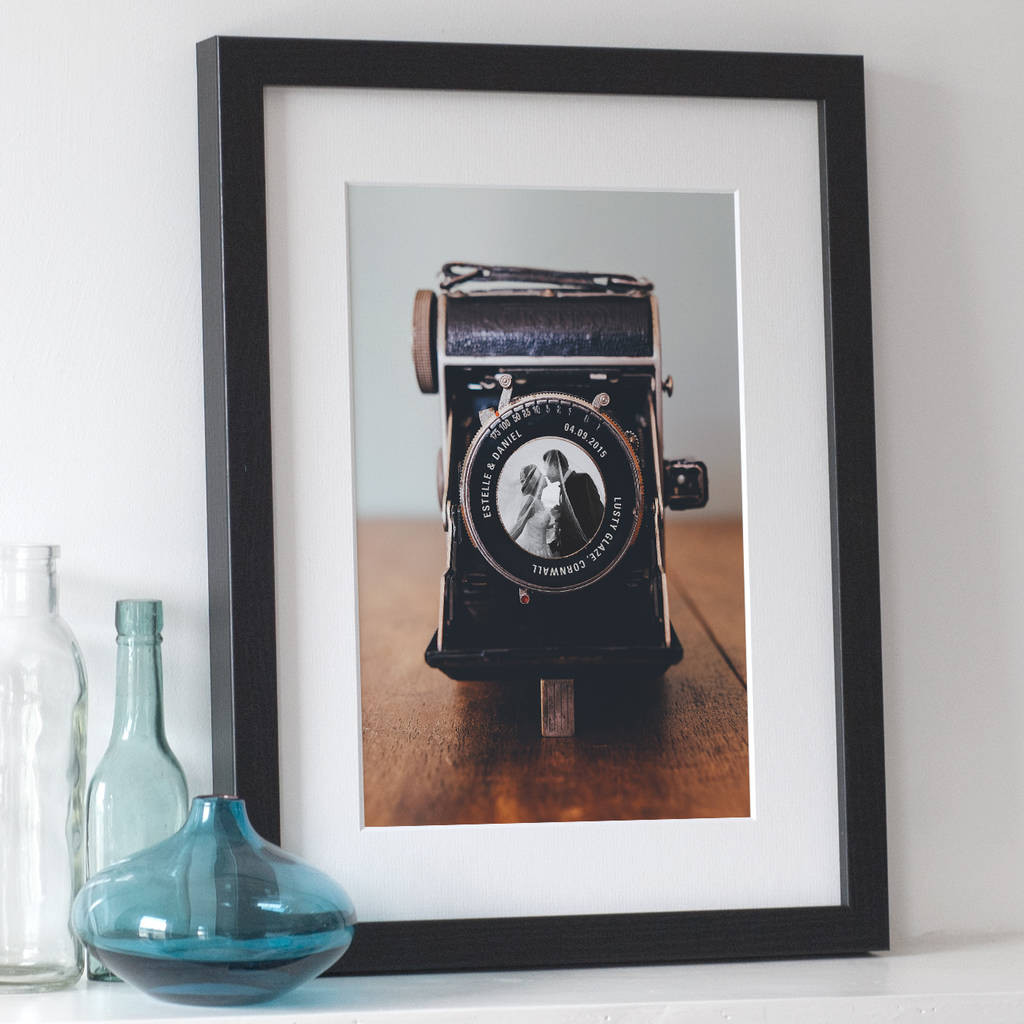 Isle Of Wight Glass Vase Of Personalised Vintage Camera Photo Print by the Drifting Bear Co with Personalised Vintage Camera Photo Print