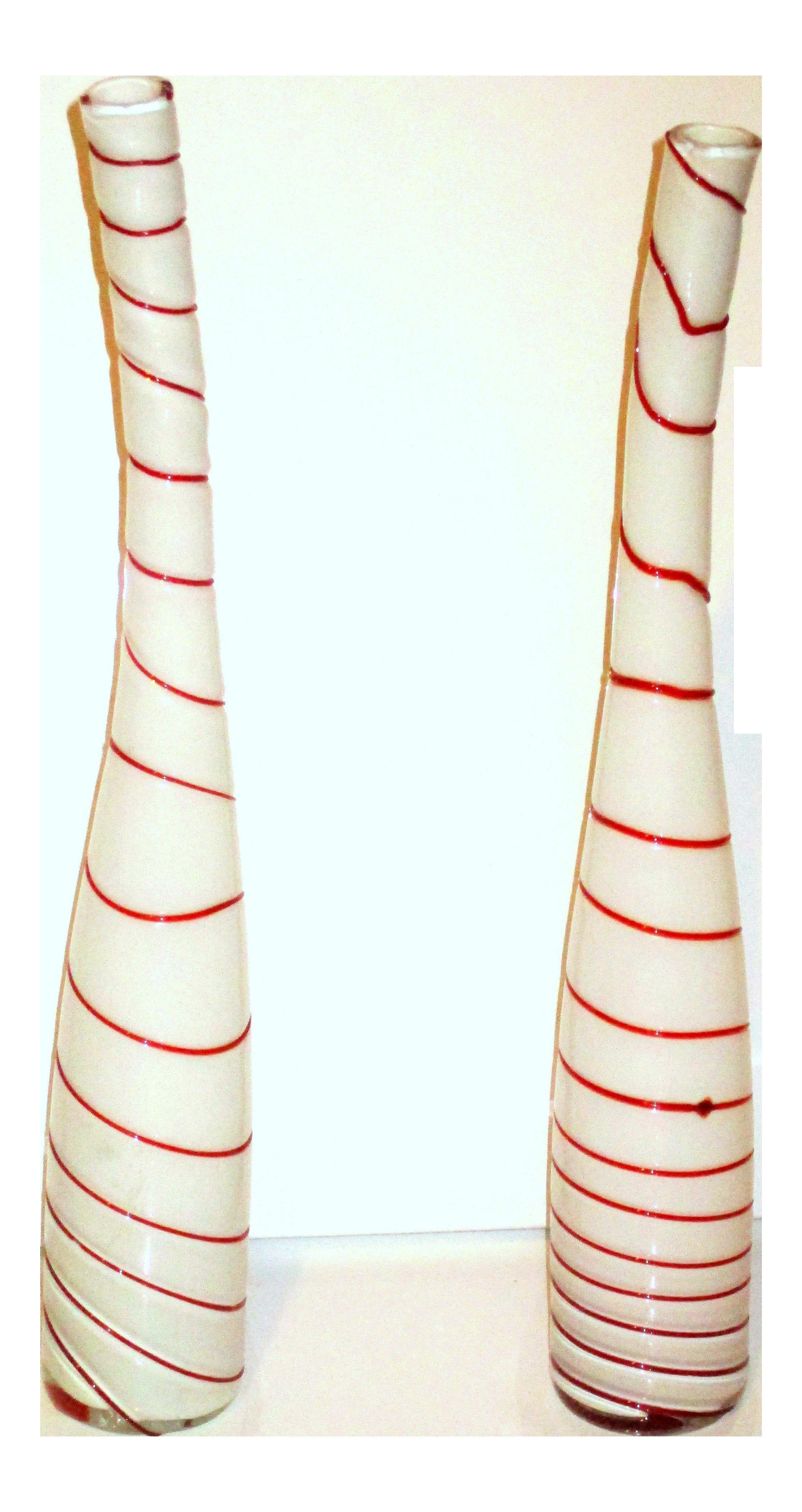 italian blown glass vase of venetian glass vase beautiful art glass murano glass striped in venetian glass vase beautiful art glass murano glass striped peppermint white