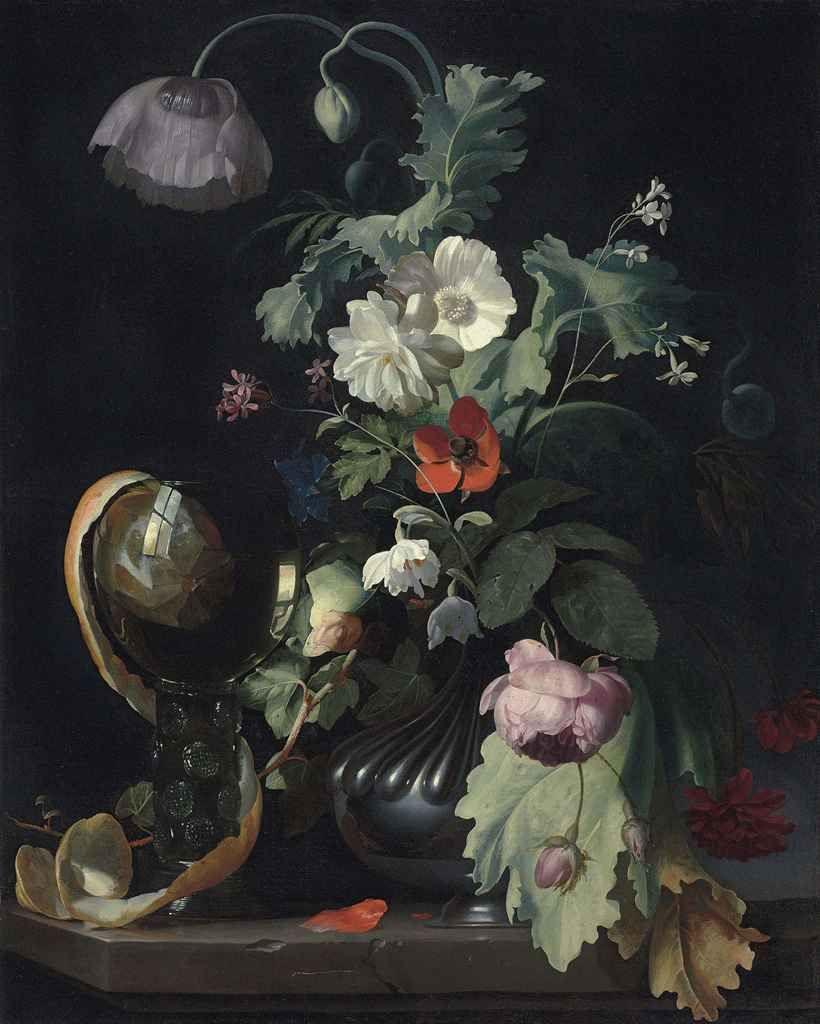 jan davidsz de heem vase of flowers of jan davidsz de heem dutch 1606 1684 vase of flowers c within herman verelst den haag dordrecht 1641 2 1702 london roses